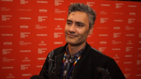 Director, Taika Waititi talks with Matt Duhamel at Sundance