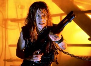 Linda Hamilton is locked and loaded in Terminator 2 Judgment Day